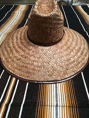 "Real Palm Straw Hat , Sun Hat , Garden , Fishing , Made In Mexico , 18"" X 16"""