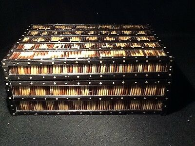 ANTIQUE PORCUPINE QUILL EBONY BOX with INNER  TRAY LARGE decorator treen