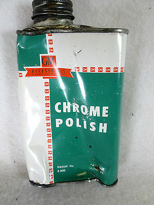 Vintage 1950's GM General Motors empty metal 8 oz Chrome Polish can