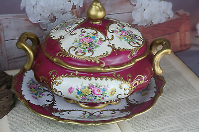 gorgeous French Limoges porcelain Center piece bowl on plate floral marked 1930