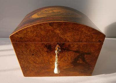 Superb Regency Burr Walnut Work Box With Rare En Grisaille Classical Scene c1790