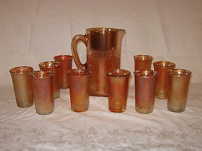 Amber Birch pattern Imperial carnival tumblers and pitcher glass
