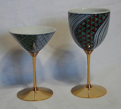 Kutani Japanese wine glasses set of 2