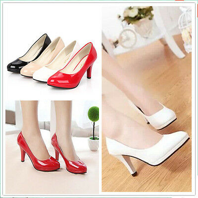 NEW Women's Comfort Patent Low Heel Pointed Toe Pump Shoes