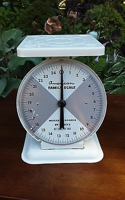 Vintage American Family Scale 25 Pound White Kitchen Counter Scale Works