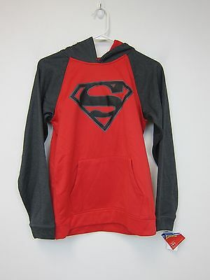 Superman Logo Spacedye Hooded Pullover - Boys Large - Red - NWT