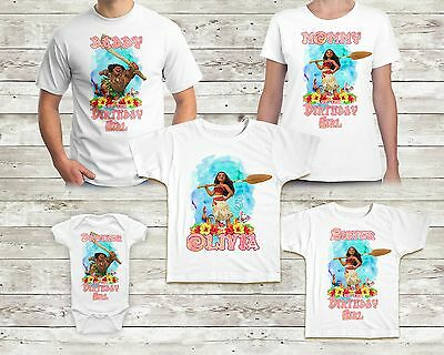 Moana Birthday Shirt Custom Name and Age Maui TShirt Family Birthday Party