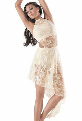 Dance Costume Large Child Ivory Lace 2pc Lyrical Contemporary Solo Competition