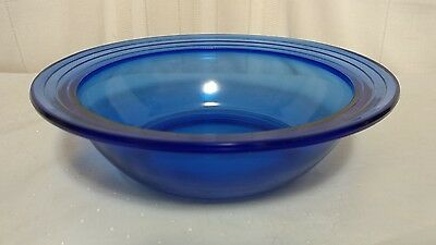 Hazel Atlas MODERNTONE COBALT BLUE (TRANSPARENT) Large Rim Fruit Bowl 8 7/8""