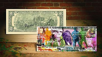 PLANET OF THE APES Vintage Genuine $2 Bill Art HAND-SIGNED by Rency with Holder