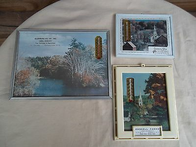 Lot of 3 Vintage Advertising Picture Thermometers - Milk & Dairy, Mobil