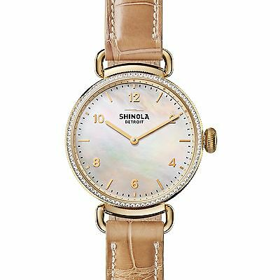 Shinola Canfield Diamond, Mother-Of-Pearl, Goldtone Stainless Steel & Alligat...