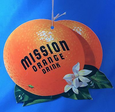 Original Vintage MISSION ORANGE SODA Light Fan PULL Advertising Sign
