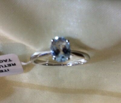 0.9 Ct, Aquamarine Ring, Solitaire, Platinum On Sterling Silver, Size, T, Or M