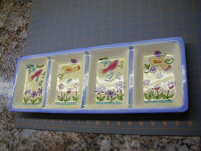 "Sango - Serving Relish Tray 3042 "" Birds and the Bees "" by Sue Zipkin"