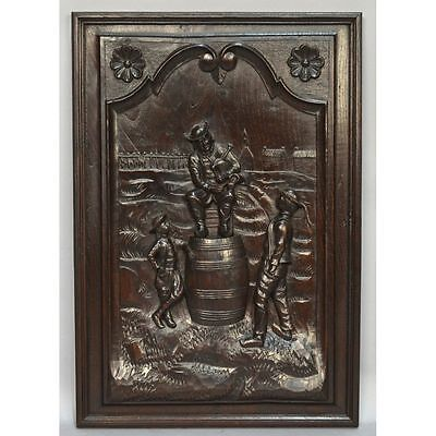 Antique Carved Chestnut French Figural Brittany Wall Panel Festive Scene