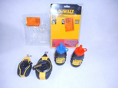 DeWalt Lot Of 2 Gear Chalk Reel Kit 3:1 Ratio 1 Compact 1 100' Red & Blue Chalk