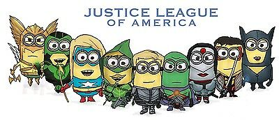 FUNNY JUSTICE LEAGUE OF AMERICA MINIONS PARODY T-SHIRT-WOMEN MENS KIDS S to 5XL