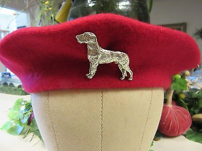 Lovely Wool Red Beret With Irish Wolfhound-One Of A Kind