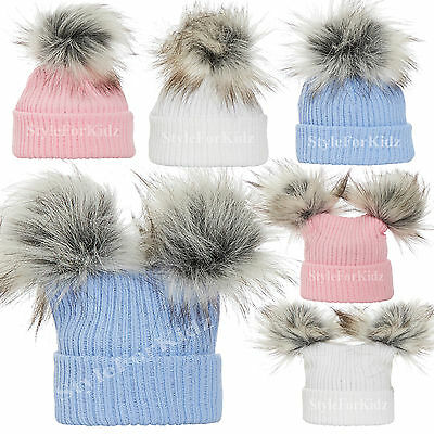 Baby Girls Boys Knitted Pompom Hats Pink Blue White Bobble Cap 0-3 , 3-6 Months