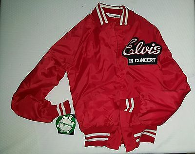 ELVIS IN CONCERT RED NYLON TOUR JACKET - Rare - Zippered - Holloway - Small