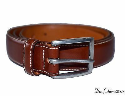 Polo Ralph Lauren Made in Italy Brown Leather Silver Buckle Men's Belt Size 36