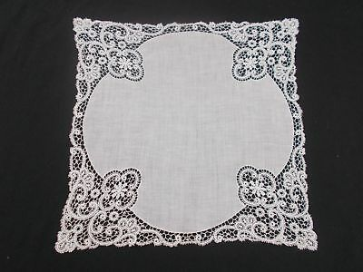 EXQUISITE Vintage Antique WHITE HANDMADE LACE BRIDAL WEDDING LINEN HANKY HANKIE