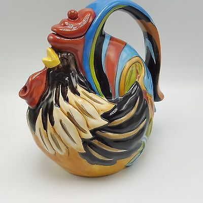 Blue Sky Clayworks Rooster Teapot Heather Goldminc 9 inch