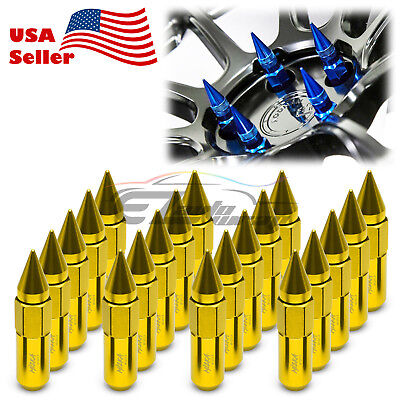 Gold 20 PCS M12X1.5mm Lug Nuts Spiked Extended Tuner Aluminum Wheels Rims Cap