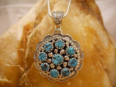 Necklace Native American Sterling Silver Turquoise  By Navajo Artist