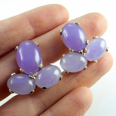 LAVENDER Lilac jadeite JADE cabochon Earrings 14K Yellow Gold LARGE  80s 1980s