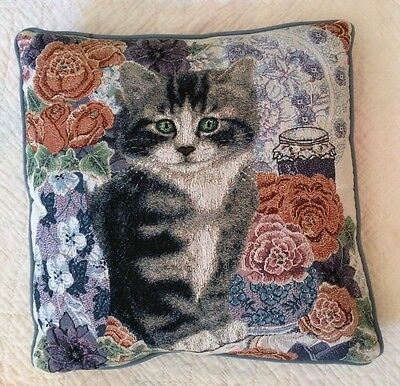 "Tapestry CAT Kitten Floral Throw Pillow 16"" x 16"""