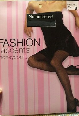 Womens Pantyhose Tights Large Nearly Black control Top Black B Honeycomb