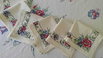 Flowers Mid Century Rayon Cotton Vtg Rectangle Tablecloth 6 Napkins Set Red Blue