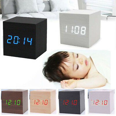 Creative LED Wooden Cube Digital Desk Voice Control Alarm Clock Thermometer
