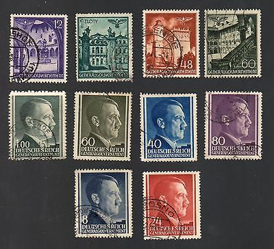 WWII Germany Occupied Poland (1940 - 1944) - Lot of 10 Different Stamps - #2