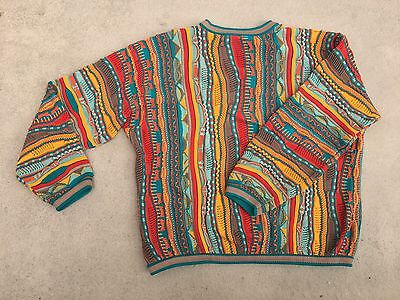 Vintage Coogi Pullover Sweater 3D Cotton Red Yellow Green Men's XL