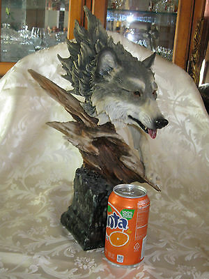 """16"""" Tall Resin, Wolf Head Bust Statue/Figuring in Gray Colors  NICE!!"""