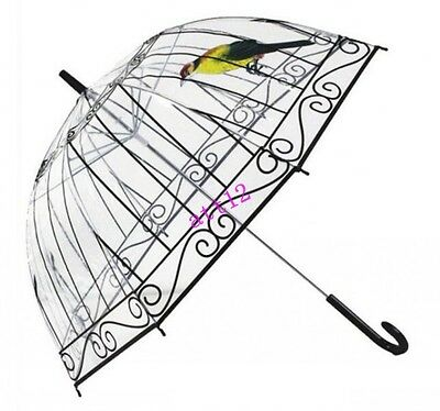 18 Creative Long Handle CHIC Clear transparent Hook New Dome/Birdcage Umbrella
