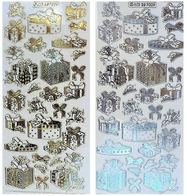 Embossed CHRISTMAS PRESENTS Peel Off Stickers Holly Gold or Silver on Clear