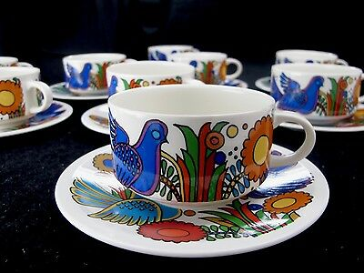 Villeroy & Boch Acapulco Set of Nine (9) Coffee Cup and Saucers Milano Style