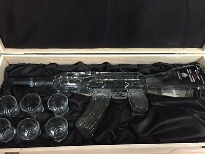 Russian Vodka AK47 in Wooden Gift Box with 6 shot glasses
