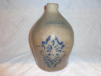 Antique F.H Cowden Cobalt Blue Decorated Stoneware Pottery Storage Jug, 1 Gallon