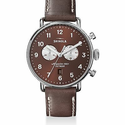 Shinola The Canfield Chronograph Tapered Leather Strap Watch