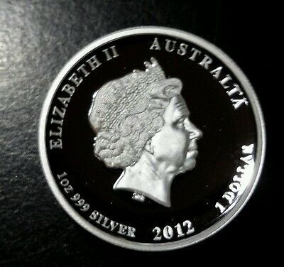 Australia 1 Ounce Silver Year of the Dragon 2012 High Relief Proof