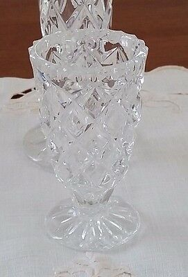Vintage Mid Century 1950s CLEAR DIAMOND CUT GLASS Small Bud Vase 90mm high