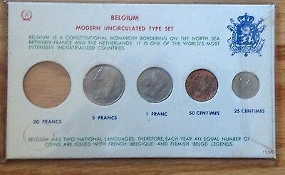 Belgium Modern Uncirculated Set 5 1 Francs 50 12 Centimes In Display Board