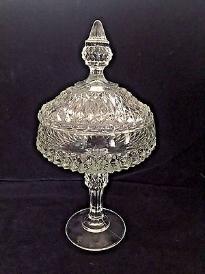 VTG Diamond Point Indiana Glass Clear Pedestal Base Compote/Candy Dish w/Lid