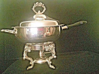 Silver Plate 3 Piece Leonard Chafing Dish w/Wood Handle/Ornate Stand & Burner