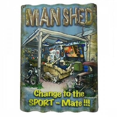 Man Shed Corrugated Tin Sign 40cm x 28cm FREE POST